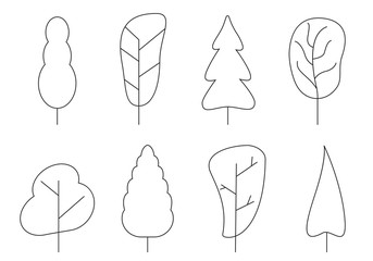 Tree icon set. Abstract outline trees silhouettes for nature, cartoon forest or garden design. Green plants. Vector illustration.
