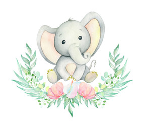 Elephant watercolor drawing. Cute baby elephant, sitting, surrounded by a wreath of tropical plants and flowers . Set on isolated background. For children's cards and invitations.