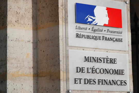 The logo of the Bercy Finance Ministry is seen at the main entrance of the Ministry in Paris