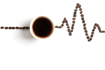 Poster Salle de cafe Cardiogram painted with coffee beans and cup of coffee on white background. The concept of the effect of caffeine on the heart.