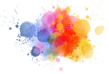 Stores à enrouleur Forme Multicolored splash watercolor blot