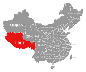Tibet red highlighted in map of China