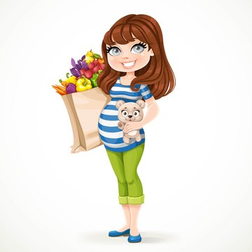 Beautiful brunette pregnant woman holding teddy bear and healthy organic products in a paper bag isolated on a white background