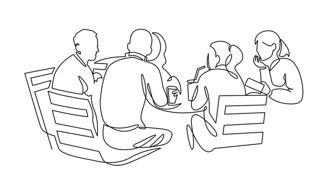 Business team meeting continuous line drawing. Friends in cafe contour vector illustration.