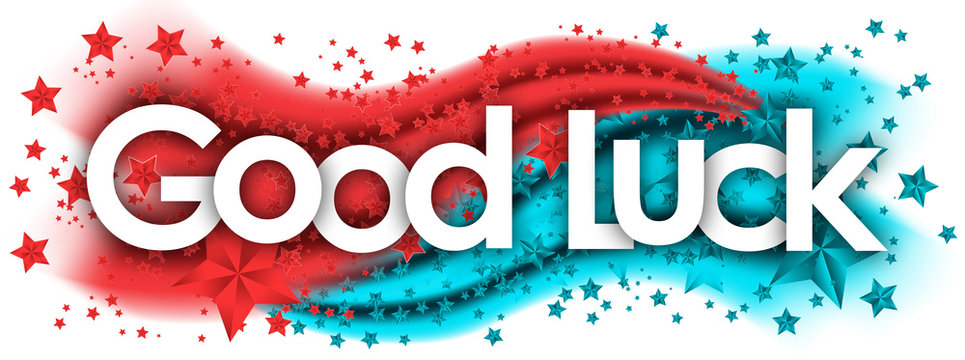 good luck word in stars colored background