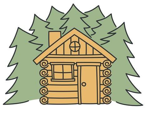 Log cabin, nature summer house vector illustration