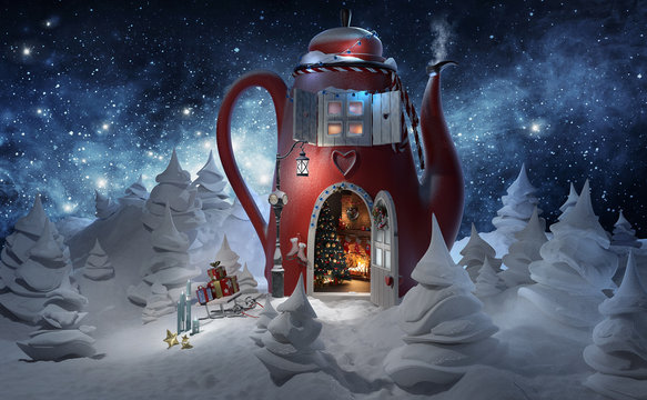 Winter. Christmas greeting card template 3d rendered illustration. Amazing fairy house in tea pot decorated at christmas with opened door and fireplace inside in magical forest.