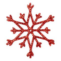 Christmas red snowflake shape decoration isolated on white background