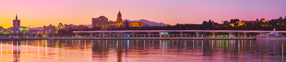 Panorama of evening Malaga from port, Spain Wall mural
