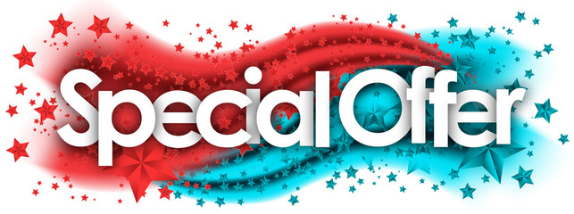 Special Offer word in stars colored background