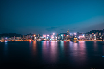 Fototapete - Hong Kong Victoria Harbor Night View