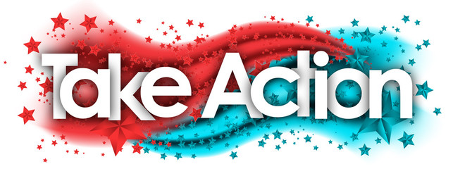 take action word in stars colored background
