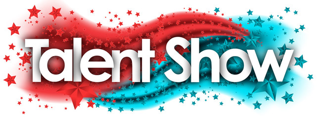 Talent Show word in stars colored background