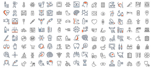 Set vector line icons, sign and symbols in flat design medicine and health with elements for mobile concepts and web apps. Collection modern infographic logo and pictogram