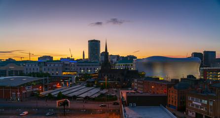 Birmingham city skyline at dusk, UK
