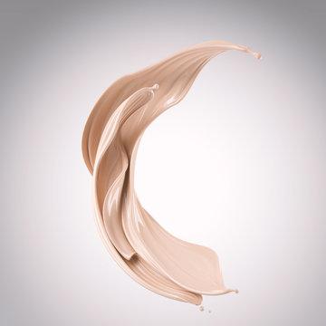 flow of liquid foundation splash cream, 3d illustration.
