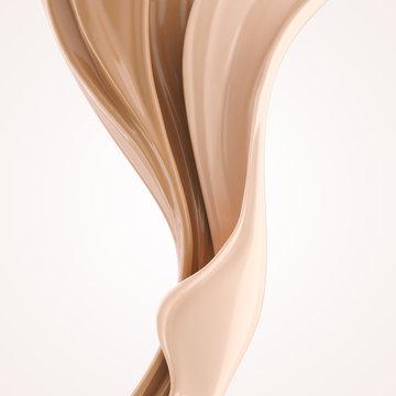 foundation splash cream for beauty cosmetic product, 3d illustration.