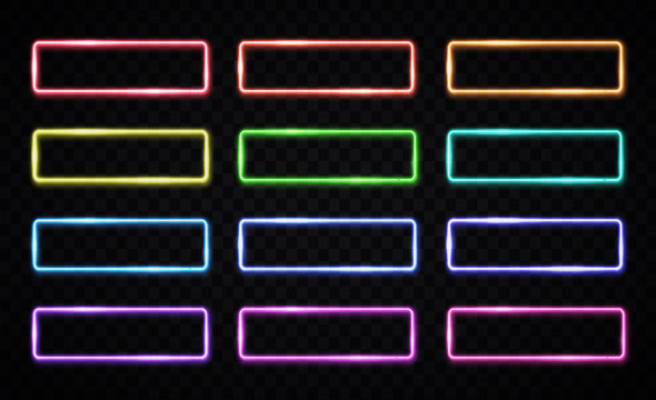 Colorful neon light frames set on transparent background. Red, green, blue, pink yellow purple rectangle frame. Color square light buttons for web internet design. Geometric shapes vector illustration
