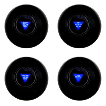 Set of four magic 8 balls with negative predictions isolated on white background