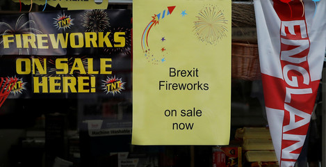 A sign advertising the sale of 'Brexit Fireworks' is seen in the window of a hardware store near Manchester, Britain