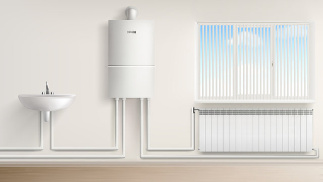 Bathroom with boiler water heater connected with radiator and washbasin, bath room interior with jalousie window. Home appliances, central heating system equipment. Realistic 3d vector illustration