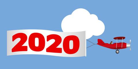 Carte de vœux pour la nouvelle année, montrant un avion rouge à hélice tirant une banderole blanche annonçant l'année 2020.