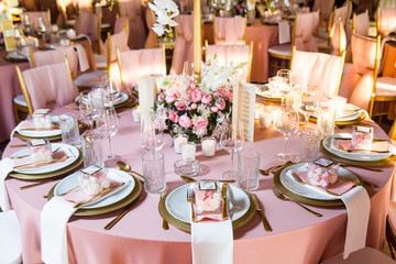 Fototapeta Beautiful dinner table decorated by gold accessories and flowers. Wedding. Decor obraz