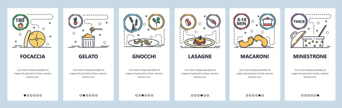 Mobile app onboarding screens. Italian food cooking, italy cuisine, lasagne, macaroni, gelato, focaccia. Menu vector banner template for website and mobile development. Web site design illustration