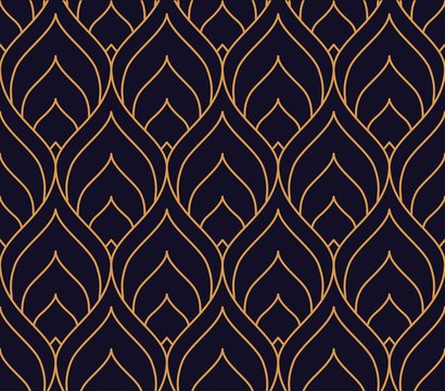 Vector ornamental seamless pattern. Gold and blue background and wallpaper in Arabic style. Geometric pattern. illustration for your design. ь