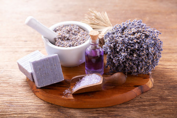 lavender's spa products with dried lavender flowers