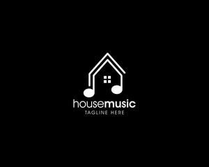 Creative Simple Music House Logo, Music House Studio Logo Design Vector Template