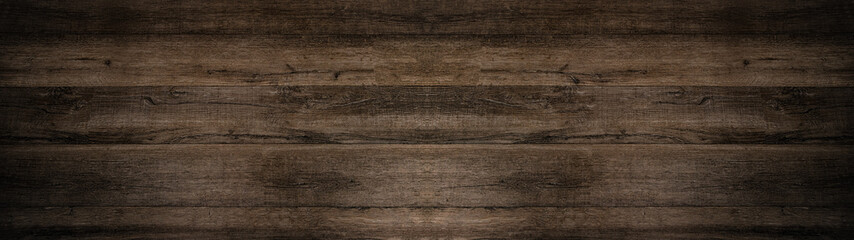Poster Wood old brown rustic dark wooden texture - wood background panorama long banner