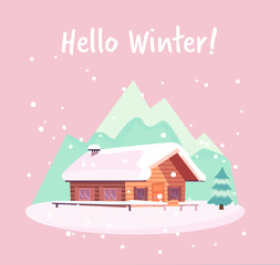 Door stickers Light pink Winter snowy landscape with mountains and wood log country house and snowfall. Christmas season card with text Hello Winter. Flat cartoon style illustration in pink mint colors.
