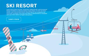 Ski equipment snowboard and ski goggles, lift, Alps, fir trees, sunny weather, mountains panoramic background. Ski resort season is open. Winter web banner design. Flat cartoon illustration