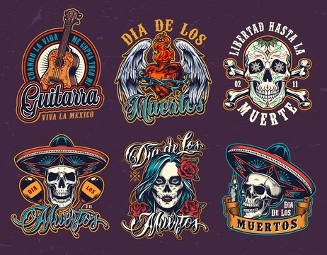 Mexican Day of Dead vintage emblems