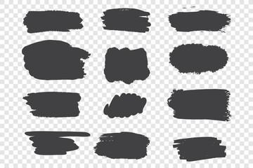 Black ink strokes vector illustrations set