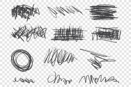 Grunge scribbles vector illustrations set