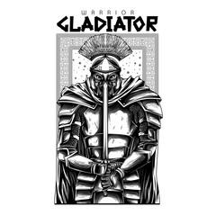Gladiator Warrior Black and White Illustration