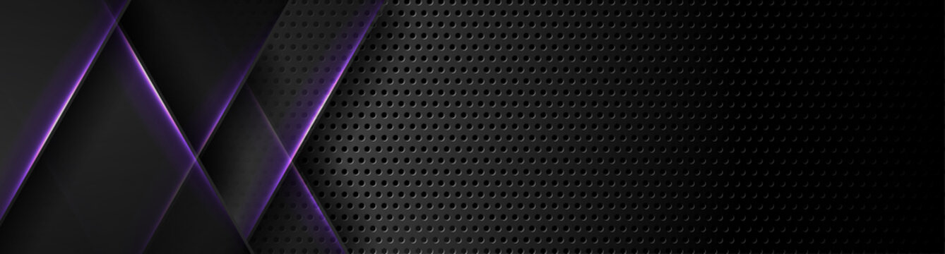 Futuristic perforated technology abstract background with violet neon glowing lines. Vector banner design