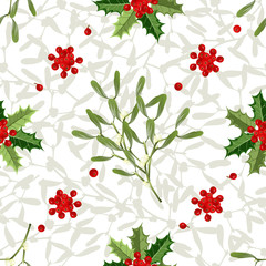 Christmas seamless pattern with mistletoe branches and holly berries on white background, vector illustration.