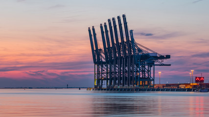 Row of container terminal cranes at red colored sunset in Port of Antwerp, Belgium Wall mural
