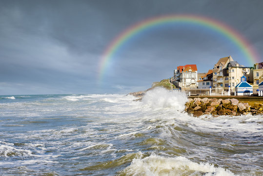 rise in sea level during a storm in northern France