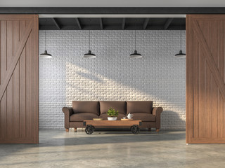 Wall Mural - Industrial style living room 3d render.There are white brick walls,polished concrete floors,black steel ceilings and wooden sliding doors,Decorated with dark brown leather sofas.