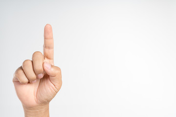 Hand pointing or doing number one gesture