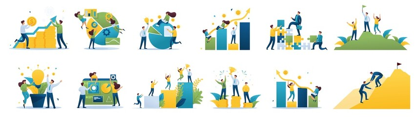 Set of mini business concepts of entrepreneurs. Concepts for web design Wall mural
