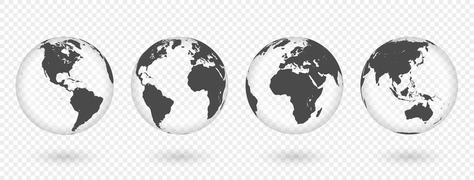 Set of transparent globes of Earth. Realistic world map in globe shape with transparent texture and shadow