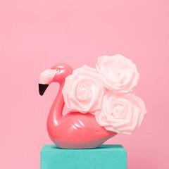 Stylish Arrangement of White Roses and Flamingo. Minimal fun art