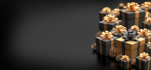 Fotomurales - Christmas background with christmas gifts decoration - 3d rendering