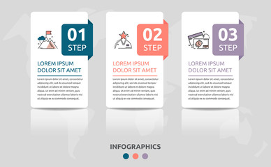 Vector infographic flat template. Rectangles for three diagrams, graph, flowchart, timeline, marketing, presentation. Business concept with 3 labels