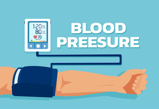 Vector of a man checking arterial blood pressure.